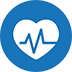 Blue circle icon with white blood sugar monitor