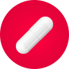 White pill capsule on red circle